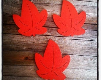 set of 3 wooden red 30mm x 35mm sheets