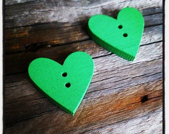 button heart sewing wooden Green 2.3 cm x 2.4 cm x 4 mm