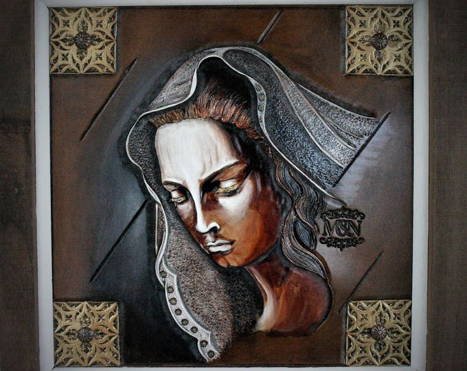 Art on leather painting religious medieval inspiration Mater Dolorosa