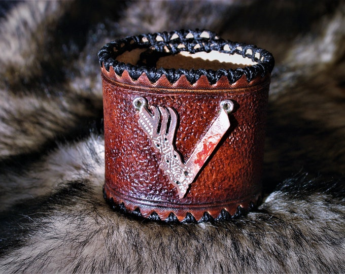 Viking series V Ragnar logo cuff leather Cuff Bracelet wrist 16 cm size Warrior