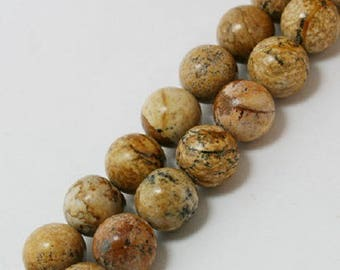8 natural Jasper beads 10 mm - Brown Jasper, Jasper Brown Stone beads