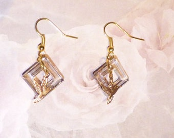 """REFLECTION SQUARE SWAROVSKI CRYSTAL EARRINGS SILVER COLLECTION """"THE LITTLE HUMMINGBIRD"""""""