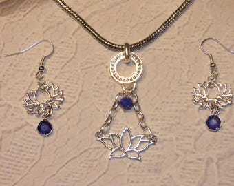 LOTUS EARRINGS AND NECKLACE SET RHINESTONE AND CRYSTAL BLUE