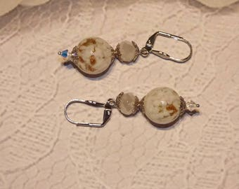 GLASS BALL BEAD EARRINGS WHITE AND GOLD WITH A PEARL WHITE FACETED CRYSTAL DONUTS.