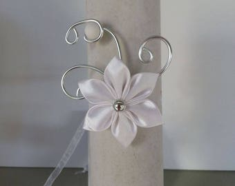 wedding ceremony bracelet child aluminum wire and silver and white satin flower