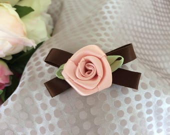 Flower 3 cm satin pink with Brown Ribbon