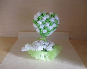 Green and white wedding centrepiece,