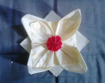 Red and white water lily napkin folding