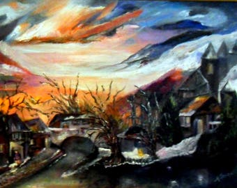 """CONTEMPORARY ORIGINAL painting signed by the author: """"snow, life..."""" """"92 x 65 cm"""