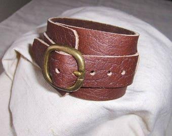 Handmade Brown Leather Buckle bracelet