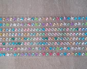 Multicolored rhinestone circles and stars