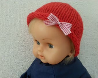 Red Hat embellished with a Gingham Bow coordinated from birth to 3 months
