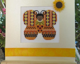Hand embroidered card: child-Butterfly with sunflowers