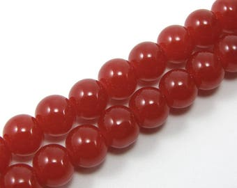 Set of 20 6 mm bright red glass beads