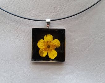 Round neck + square pendant, resin and dried Buttercup flower