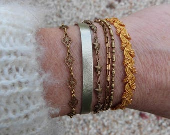 cuff leather ribbons and fantasy, mustard and gold chains, Annette collection