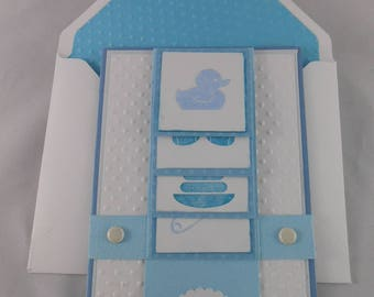 Cascading baby boy congratulations card