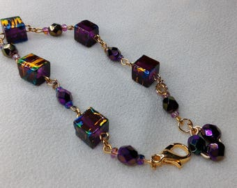 Glass Bracelet Amethyst, blue and gold