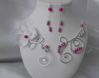 """Ornament wedding 2 piece """"Insulator"""" necklace and Earrings in silver plated in fuchsia"""