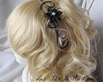 Headband with black satin flower