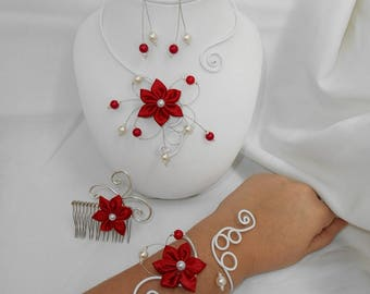 Finery BELLA Flower necklace, bracelet, earrings and hair comb