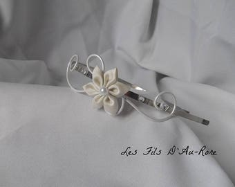 Headband with ivory satin flower