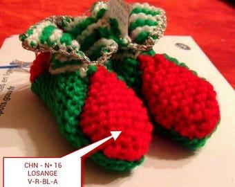Christmas decoration idea - Christmas # 16 booties Christmas hand knitted