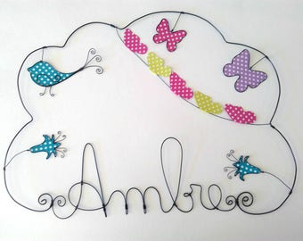 """Name personalized wire, """"Swarm of butterflies with small bells and bird"""" """"Model 50 * 50 CM"""""""