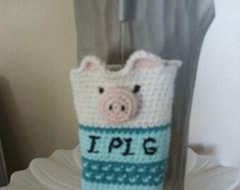 """"" laptop or apareil pouche photo ""i pig"", in crochet."