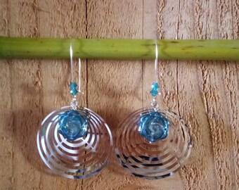 Earrings dark blue print