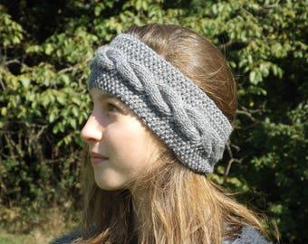 Grey wool headband twist