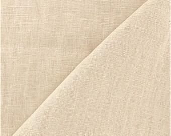 BEIGE sand / plain cotton-linen, premium quality, cut 25cm