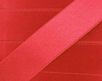 Satin ribbon / Red / 10mm cut 50cm width