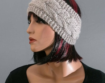 Hand knitted headband, ear-warmer, headband, pure wool, with cables