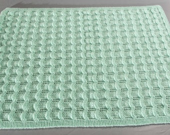 Wool baby blanket, soft green color