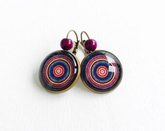 Stud Earrings - cabochon - Mandala