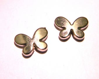 5 pearls Butterfly 17 x 12 mm - Platinum - acrylic CCB - F43