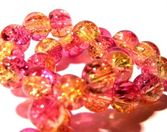 10 Crackle glass beads - 8 mm - AA grade - 2 shades of pink and yellow Crackle PG176 3