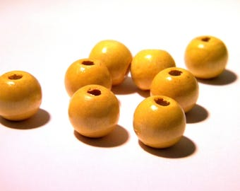 100 natural wooden beads in 12 mm - wood painted and varnished - yellow - BO-2