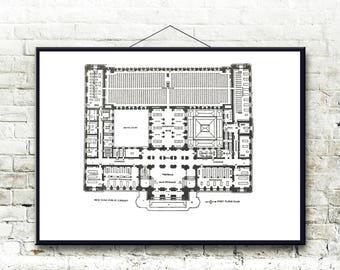 New York Public Library Architectural Floor Plan Fine Art Print