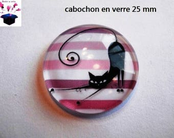 1 cabochon clear 25 mm round black cat with striped theme
