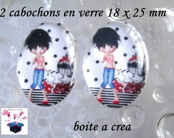 2 cabochons glass 25mm x 18mm theme holiday miss and her cat