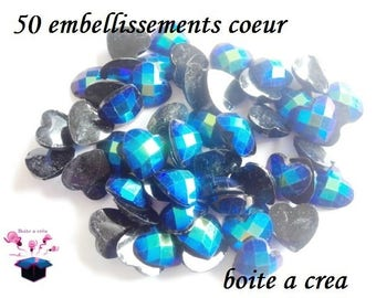 blue black heart 50 embellishments a total of 12 mm Scrapbooking