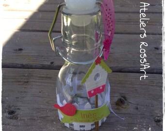 10 glass bottle 12cm - decor birdhouse bird baptism communion - children's party - personal text