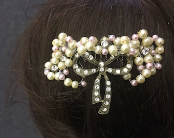 Vintage bow hair comb pink and Ivory pearls
