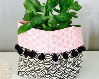 Basket / planter fabric reversible 11x12cm wave black and pink star, Pompom, empty pouch, home decor