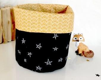 panier ou cache pot tissu 12x12cmeventail rosenoirorruban. Black Bedroom Furniture Sets. Home Design Ideas