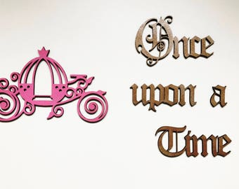 "Stickers ""Once upon a time"" wood and carriage - once upon a time"