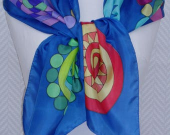 """Scarf, scarf in blue and multicolored silk pongee handpainted """"Les 5 Mandalas"""""""