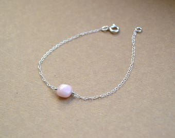 Bracelet 925 sterling silver and pale pink colored stone